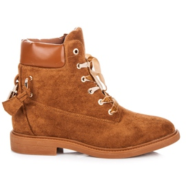 Ideal Shoes Suede Workers legat cu o panglică maro