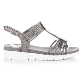 Kylie gri Sandale Cu cristale