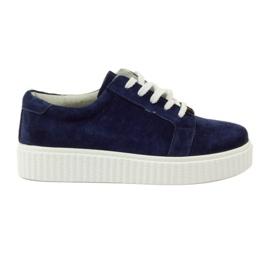 Pantofi de piele din piele Filippo 036 bleumarin