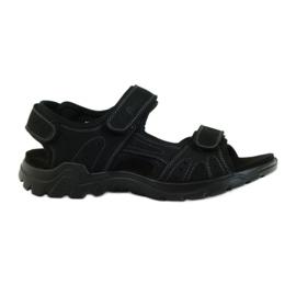 American Club negru Sandale pentru bărbați din piele americană