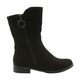 Daszyński negru SA130 cizme negre din piele de căprioară