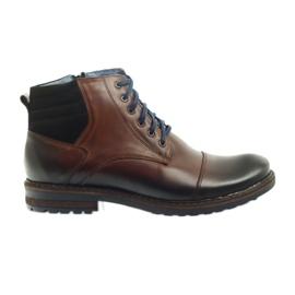 Pantofi din piele neagră Nikopol 683 maro