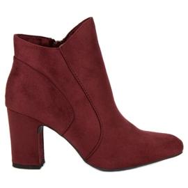Kylie Elegant Suede Booties roșu