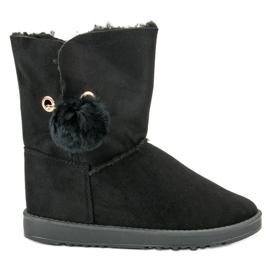 Negru Mukluki Cu o haină de oaie
