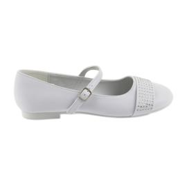 Alb Pompe de pantofi pentru copii Communion Ballerinas rhinestones American Club 11/19