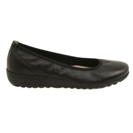 Negru Balerine din piele confortabile Caprice 22150