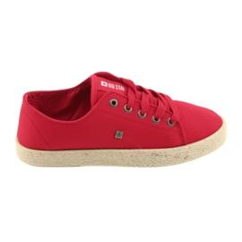 Roșu Ballerinas espadrilles pantofi femei roșii Big star 274424