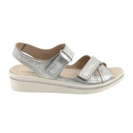 Caprice gri Pantofi de pantofi din piele de piele pentru femei de argint