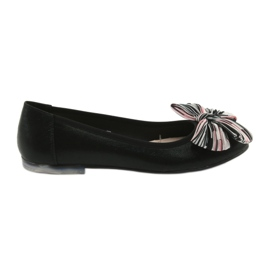 Negru Ballerina pantofi femei cu un arc Sergio Leone 605