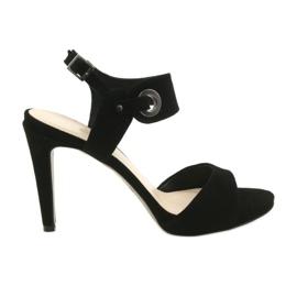 Sandale din piele pe un pin Edeo 3208 negru