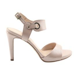 Sandale piele pe un picior Edeo 3208 pulbere roz