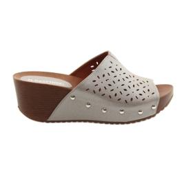 Femeile papuci la picior Daszyński 144 bronzul argintiu