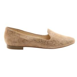 Pantofi de balet din piele pentru femei Lordsy Caprice 24203 beige maro