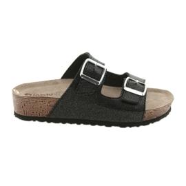 Negru Inblu NM013 papuci de culoare neagră pentru femei, cu pene de argint