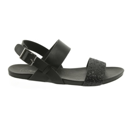 Sandale negre confortabile Filippo 685 brocart negru