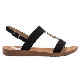 Negru Flat Sandals Vinceza
