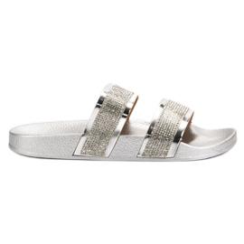 Seastar Papuci de argint cu cristale gri