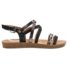 Seastar negru Sandale negre la modă