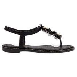 Comer negru Sandale cu perle