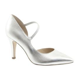 Pantofi cu curea Caprice 24402 de argint gri