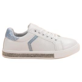 Ideal Shoes Pantofi sport cu zirconi alb