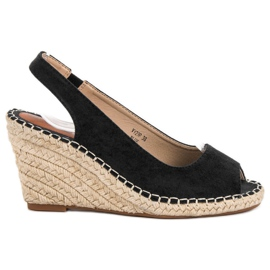 Seastar negru Sandale pe Wedge