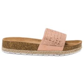 Seastar Pantofi roz cu zirconi