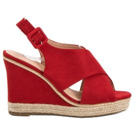 Anesia Paris roșu Suede Sandale pe Wedge