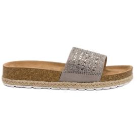 Seastar Papuci de culoare gri cu zirconi