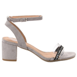 Ideal Shoes gri Sandale elegant Suede