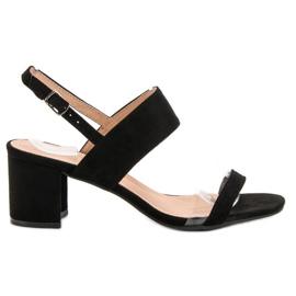 Ideal Shoes negru Sandale la modă pentru femei