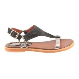 Sandale plat călcâi Daszyński negru de argint