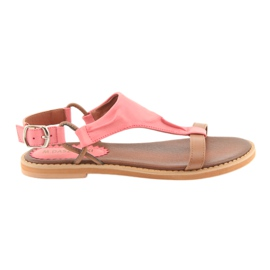 Sandale plat călcâi Daszyński Living Coral
