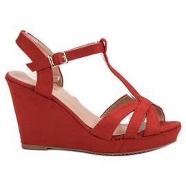 SHELOVET Suede Sandale roșu
