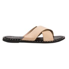 Small Swan Bej geantă de papuci maro
