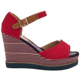 Primavera roșu Sandale pe Wedge