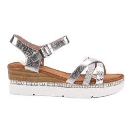 Seastar gri Sandale modă cu zirconi