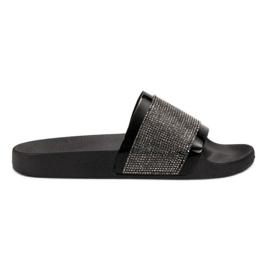 Papuci cu zirconiuri VICES negru