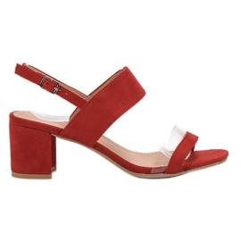 Ideal Shoes roșu Sandale la modă pentru femei