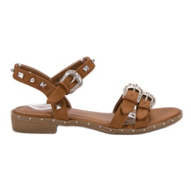 Small Swan maro Camel sandale cu bastoane