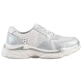 Goodin alb Pantofi din piele cu brocart