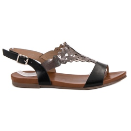 Kylie negru Sandalete plate plate