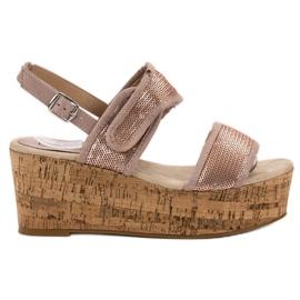 Kylie roz Sandale cu Velcro
