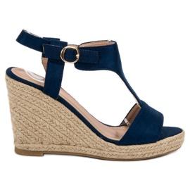 Anesia Paris albastru Moda sandale cu pană