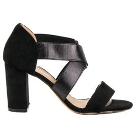 Evento negru Slip-sandale cu bandă elastică