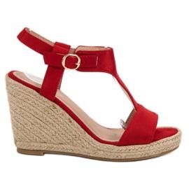 Anesia Paris roșu Moda sandale cu pană