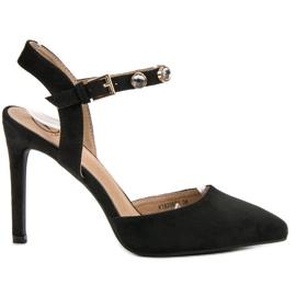 Kylie negru Stilettos cu călcâi deschis