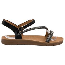 Camo negru Sandale cu zirconiu cubic
