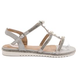 GUAPISSIMA Sandale cu perle gri