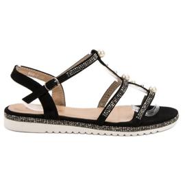GUAPISSIMA negru Sandale cu perle